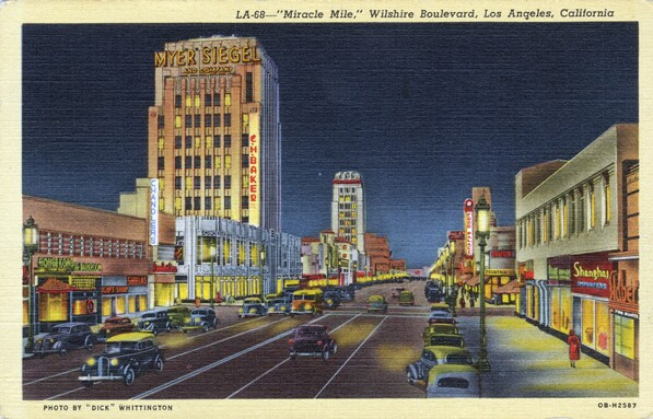 1940 postcard of Wilshire Boulevard's Miracle Mile segment. Courtesy of the Werner Von Boltenstern Postcard Collection, Department of Archives and Special Collections, Loyola Marymount University Library.