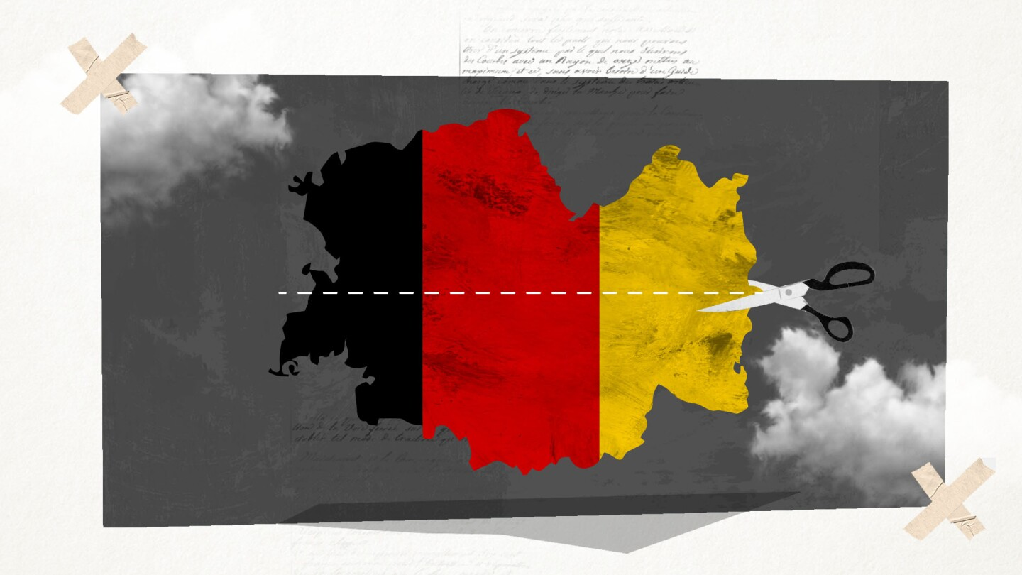Graphic depicting map of Germany with German flag colors | Cronografia