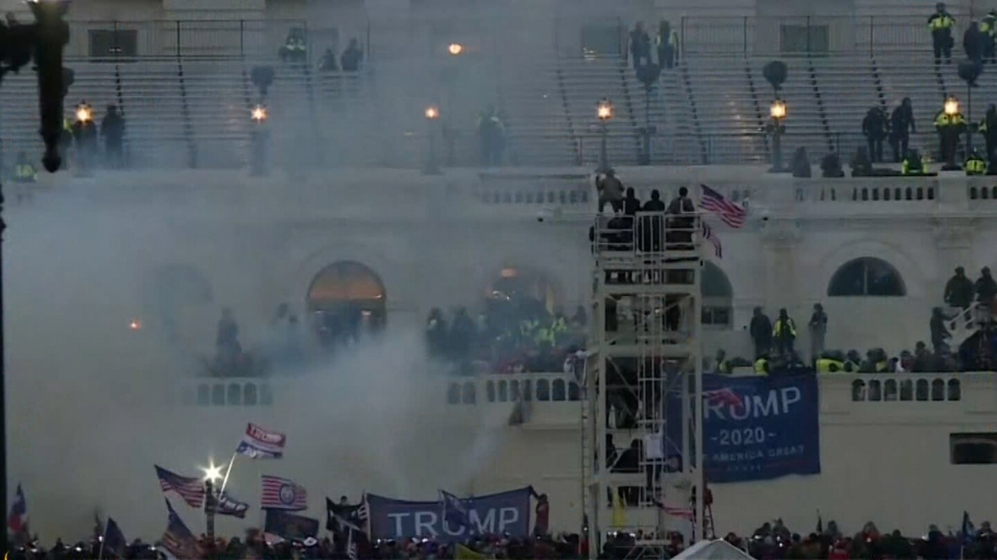 A mob of Trump supporters storm Capitol Hill.