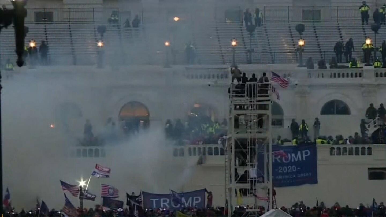 A mob of Trump supporters storm Capitol Hill.