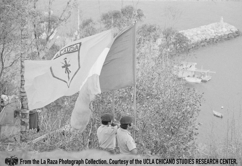 CSRC_LaRaza_B12F4C2_MM_022 Brown Berets on Catalina Island   Maria Marquez Sanchez, La Raza photograph collection. Courtesy of UCLA Chicano Studies Research Center