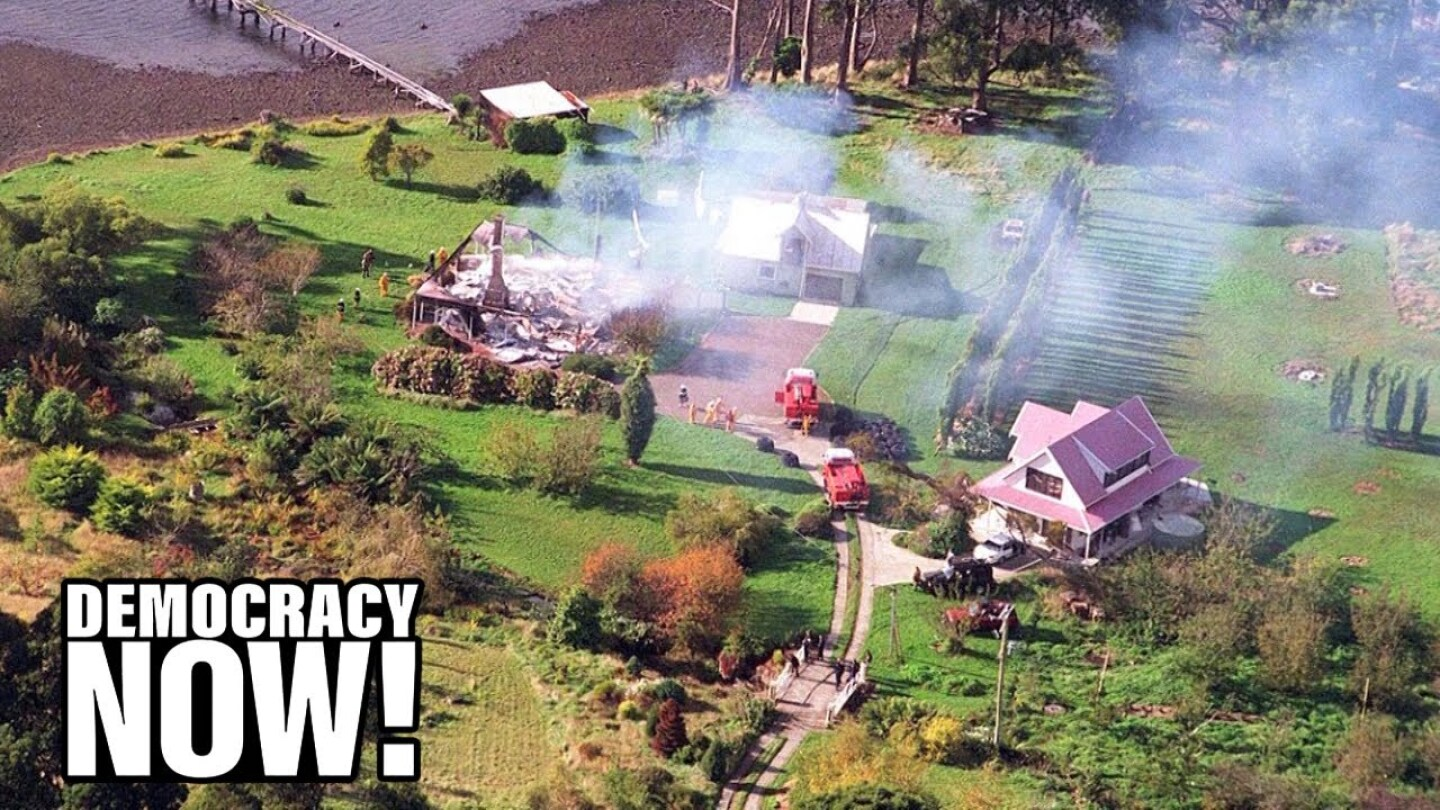 Aerial shot of the aftermath of the mass shooting at Port Arthur in Tasmania, Australia.