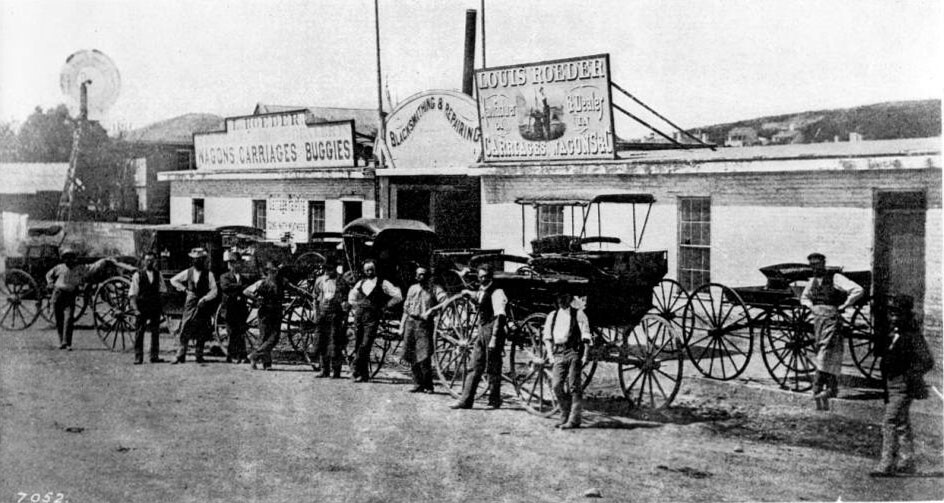 Louis Roeder's blacksmith shop, seen here circa 1878 occupied the west side of Spring Street just south of First. Courtesy of the USC Libraries - California Historical Society Collection.