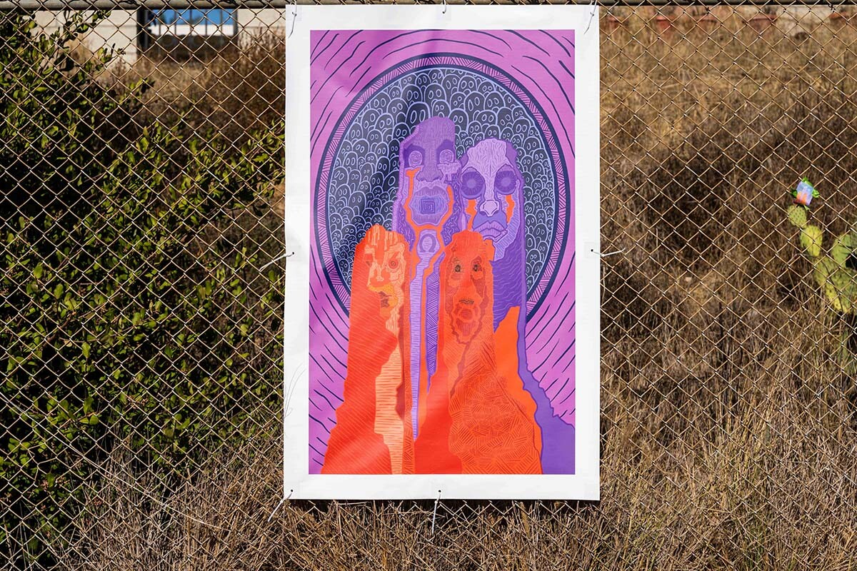 """Art on display at the """"Mesa College Drive-In: An Outdoor Art Exhibition"""" 