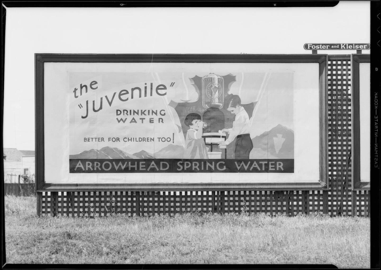 Arrowhead Water billboard, Southern California, 1931