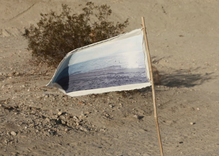 A flag emblazoned with an image of water   Photo: Drew Tewksbury