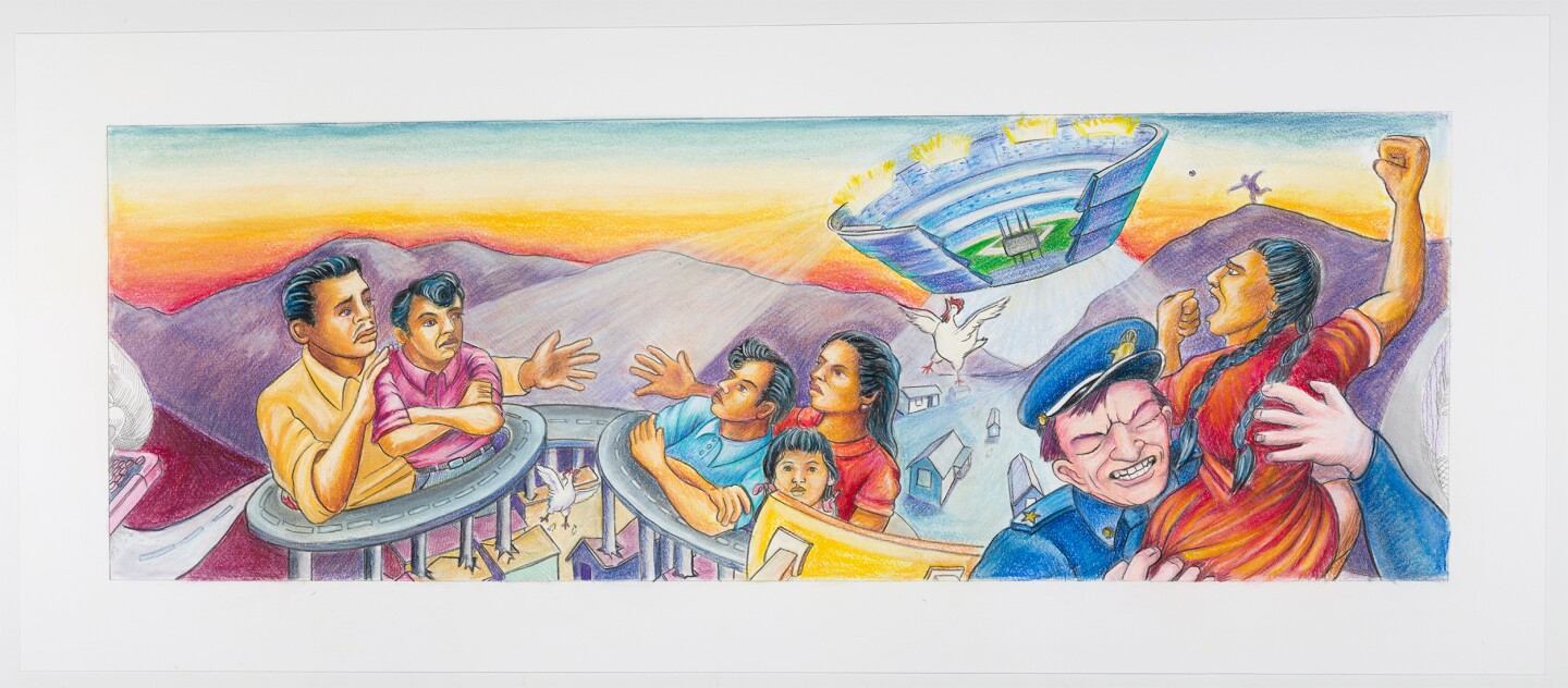 "A final coloration of ""The Great Wall of Los Angeles: Chavez Ravine and the Division of the Barrios"" depicts freeways encircling and dislocating a Chicano family. Above them, the Dodger Stadium resembling a UFO descends from the sky as a bulldozer and policemen forcibly uproot the predominantly Chicano community at Chavez Ravine."