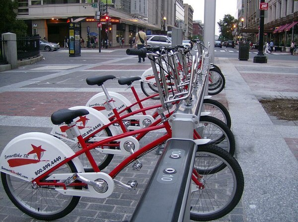 A bicycle sharing rack in Washington D.C.