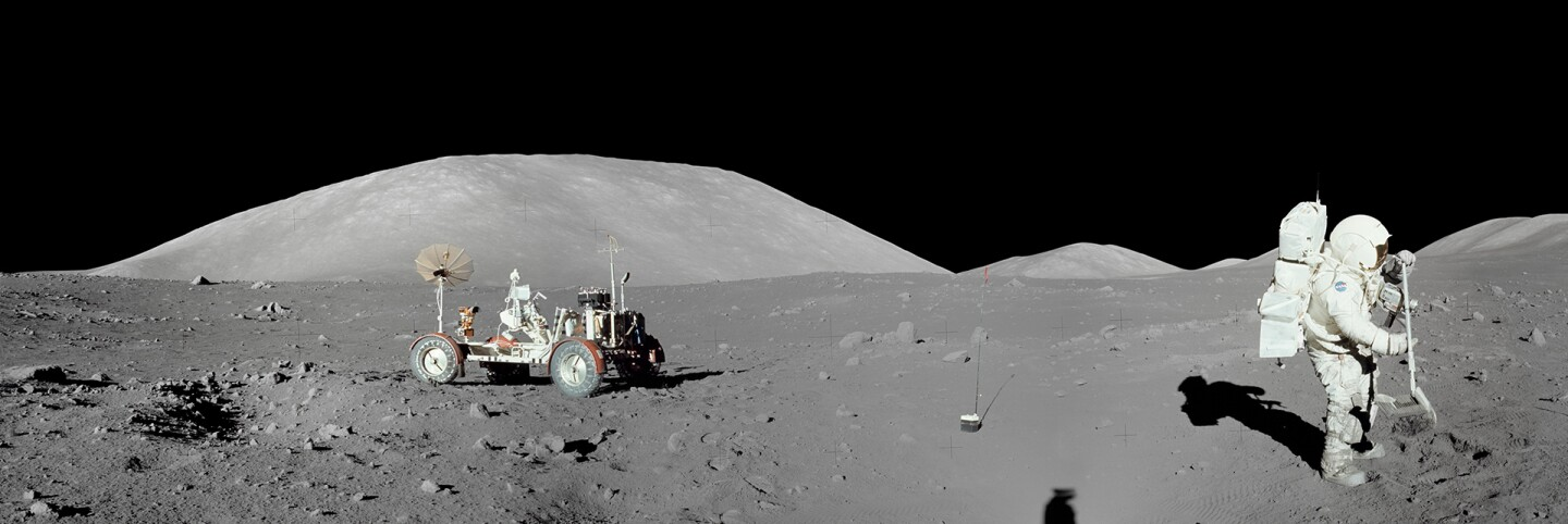 Panorama of the moon taken during mission Apollo 17. | Wikimedia Commons/NASA - Lunar and Planetary Institute