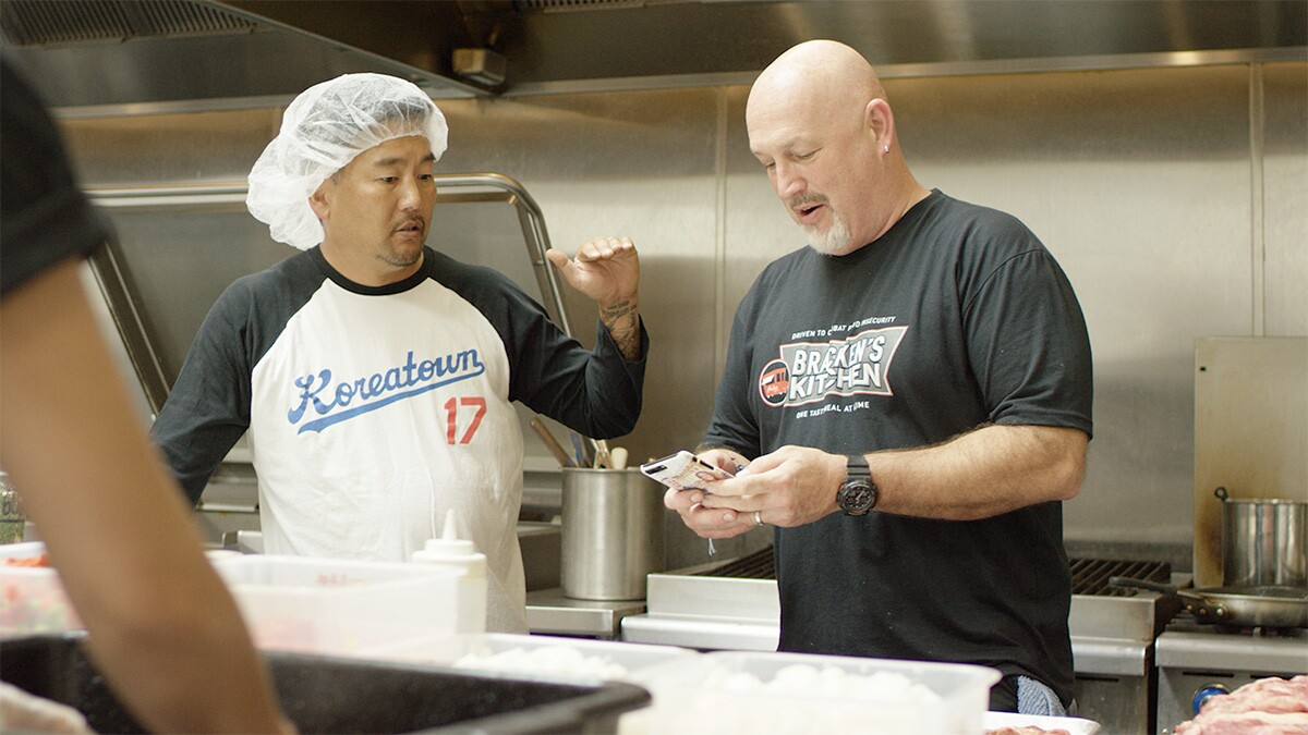 "Bill Bracken of Bracken's Kitchen and Roy Choi | Still from ""Broken Bread"""