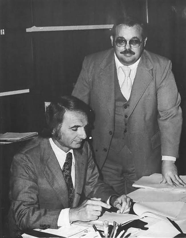 Los Angeles County Supervisor Ed Edelman with David Glascock, 1975. ONE National Lesbian and Gay Archives.