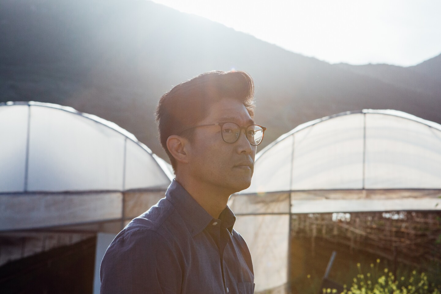 Aaron Choi stands in front of various greenhouses on his farm.