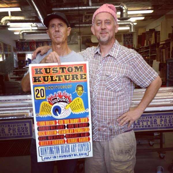 C.R. Stecyk and Kevin Bradley (Church of Type) with the first Kustom Kulture II poster for the exhibition.