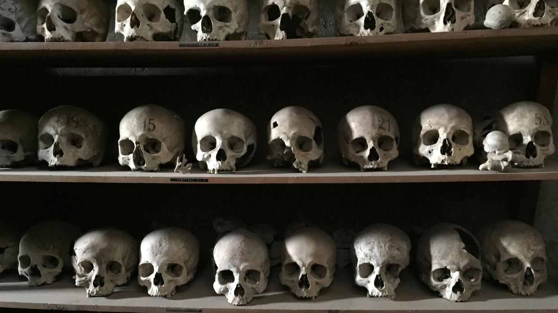 "Rows of human skulls line some shelves. | ""NOVA: The Next Pompeii"""