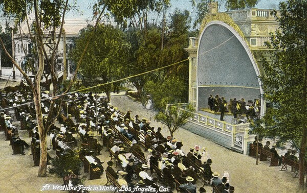 Concerts at the Westlake Park band shell could attract crowds of up to 10,000. Courtesy of the Photo Collection, Los Angeles Public Library.