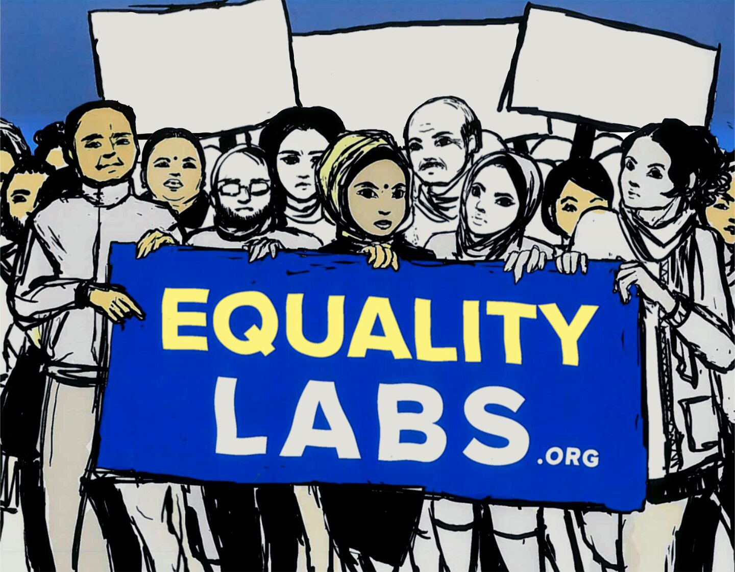"""Illustration featuring people holding a sign that reads """"EQUALITY LABS"""""""