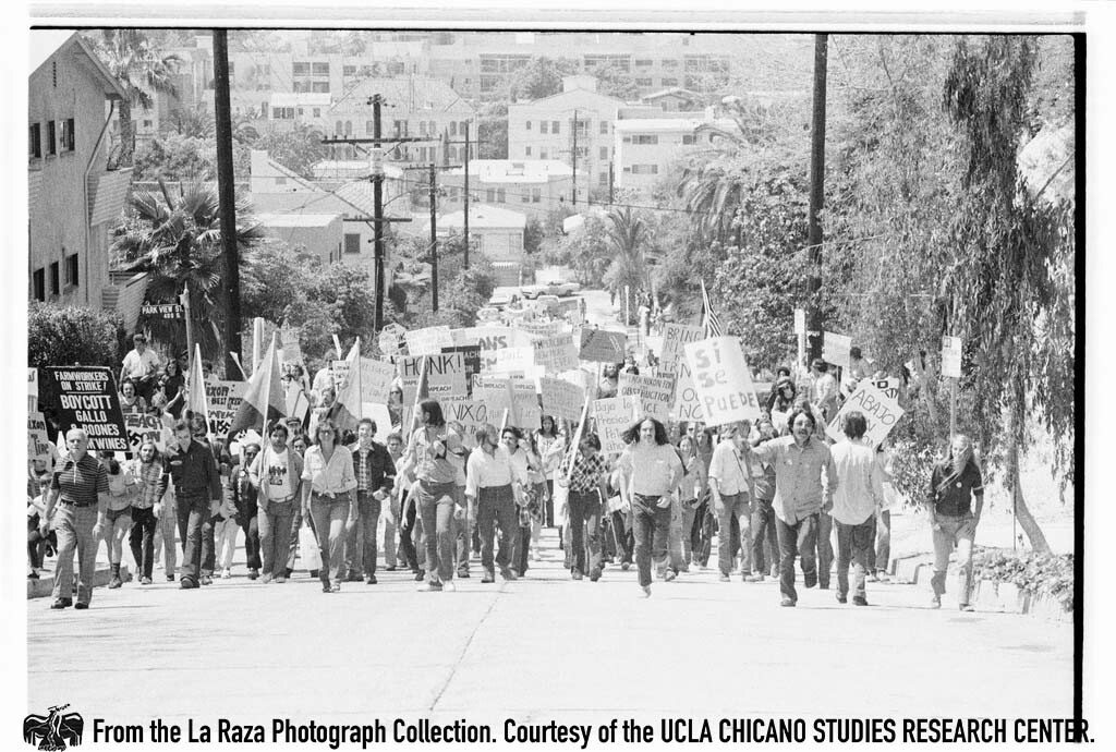 """CSRC_LaRaza_B15F14C1_Staff_011 Protesters demonstrate against President Richard Nixon in the """"Dump Nixon"""" march from Echo Park to MacArthur Park 