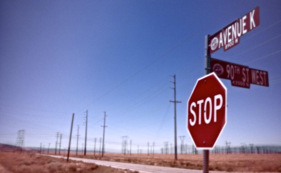 """Forest of Power Lines - Avenue K & 90th St. West,"" pinhole exposure. Lancaster, CA. 2010.   Photo: Osceola Refetoff."