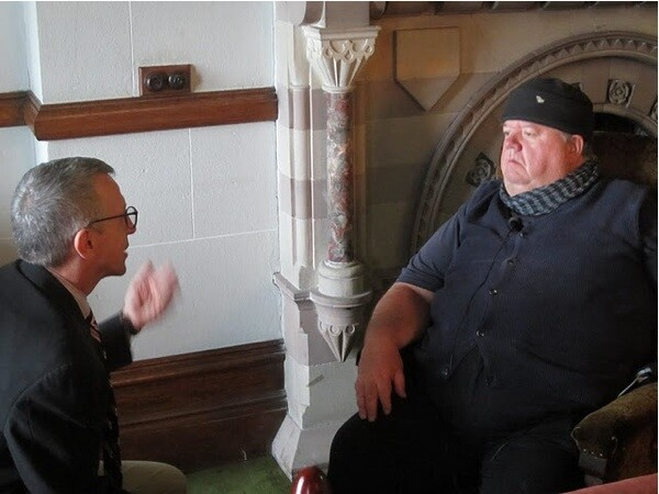Interviewing Ian McNeice, who plays Burt Large | Photo by Bohdan Zachary/KCET
