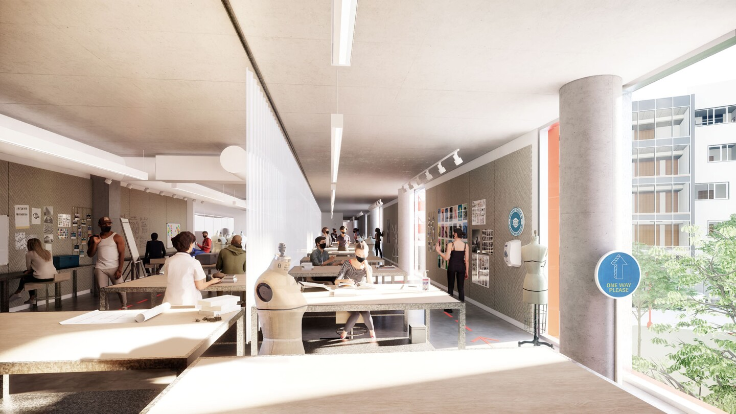 A rendering of a fashion studio with COVID-19 regulations in place such as social distancing and plastic barriers.