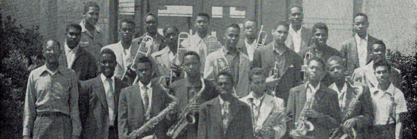 Jefferson High School swing band from the summer of 1950 featuring Samuel Browne, Horace Tapscott on trombones and Frank Morgan on the alto sax. | Courtesy of Steven Isoardi