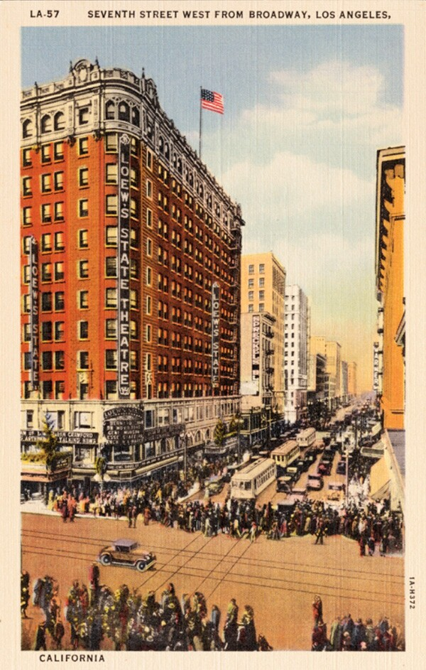 Postcard depicting Seventh and Broadway. Courtesy of the James Rojas Collecton, Metro Transportation Library and Archive. Used under a Creative Commons license.