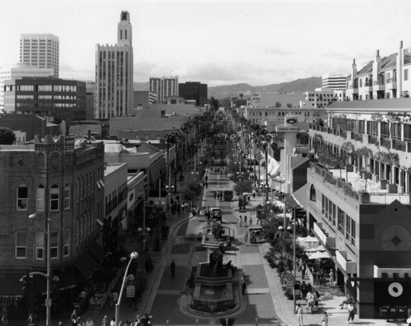 After a two-year, $10-million renovation, the Santa Monica Mall reopened in 1989 as the Third Street Promenade. Undated photo courtesy of the Cary Moore Collection - Los Angeles Public Library.