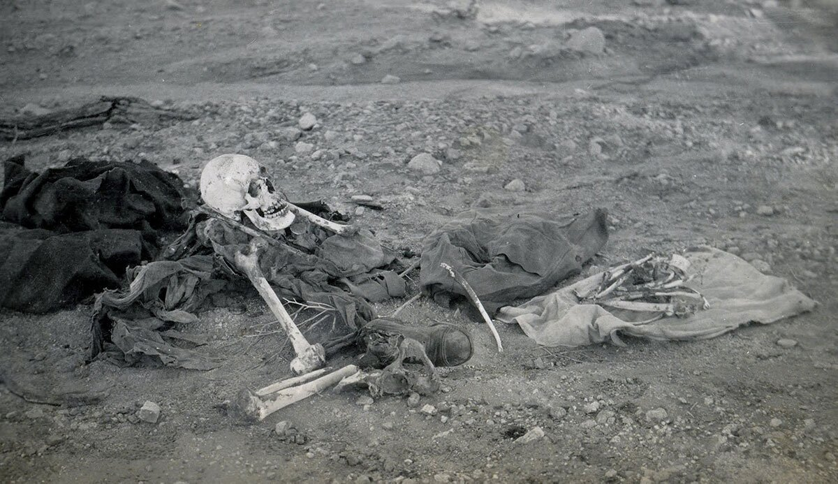 Desert travel was hazardous in Susie and Lula's day. The few waterholes were littered with the remains of bighorn sheep and, occasionally, humans. This skeleton was found by aqueduct surveyors in Thermal Canyon. | Lula Mae Graves. Warner Graves Collection