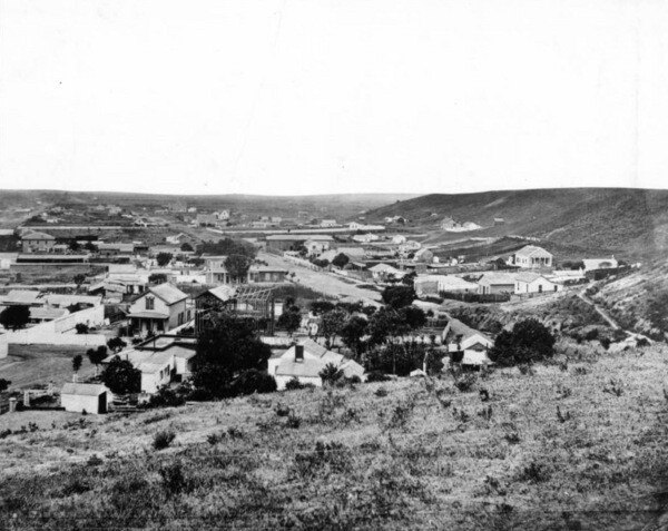 Fort Street is visible in the center of this photograph, taken circa 1868. Courtesy of the USC Libraries - California Historical Society Collection.