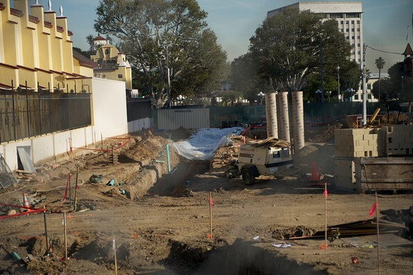 The excavation site at LA Plaza de Cultura y Artes in Downtown L.A. sits empty on Friday after work was halted | Photo by Seth Strongin/The City Project, used under a Creative CommonsLicense