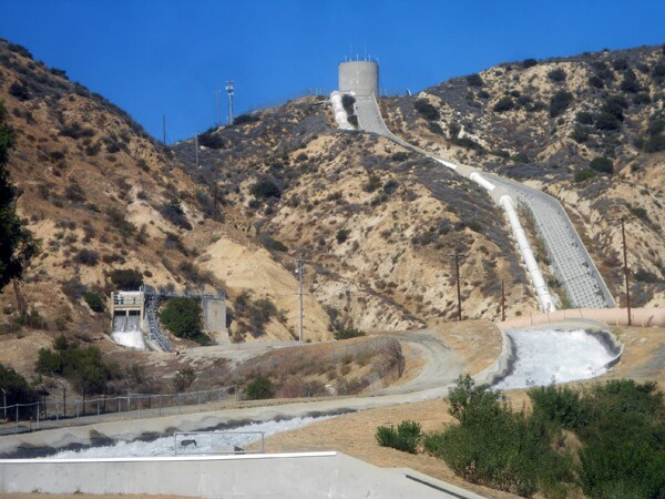 The Los Angeles Aqueduct cascades in Sylmar.
