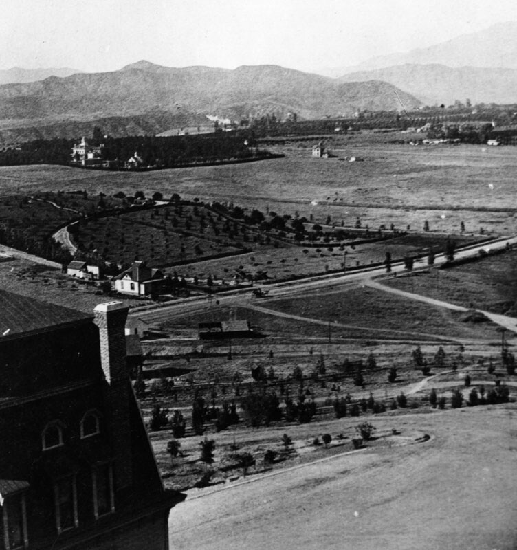 View of the Pasadena countryside from the Raymond Hotel, circa 1890. Courtesy of the Photo Collection, Los Angeles Public Library.