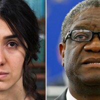 Side by side image of Nadia Murad (left) and Dr. Denis Mukwege (right). | Democracy Now