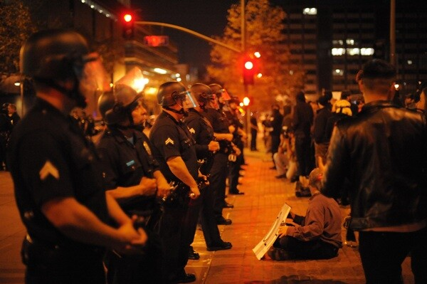 Outside the Occupy L.A. perimeter on Tuesday evening   Photo by Tom Andrews
