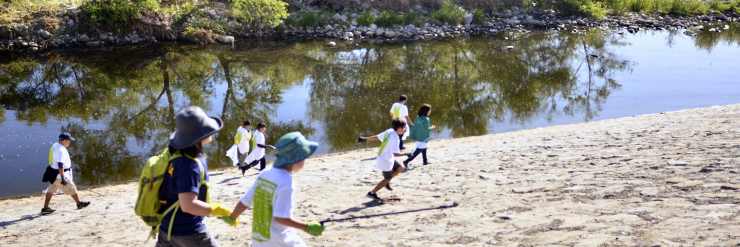 Children at the Great L.A. River CleanUp.