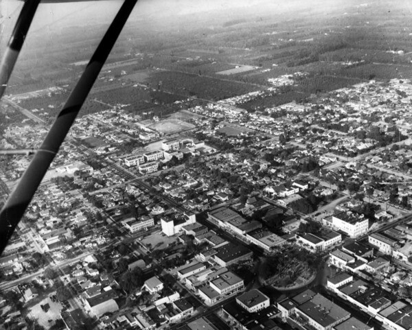 An aerial view of Orange in 1950. Courtesy of the Orange Public Library Local History Collection.