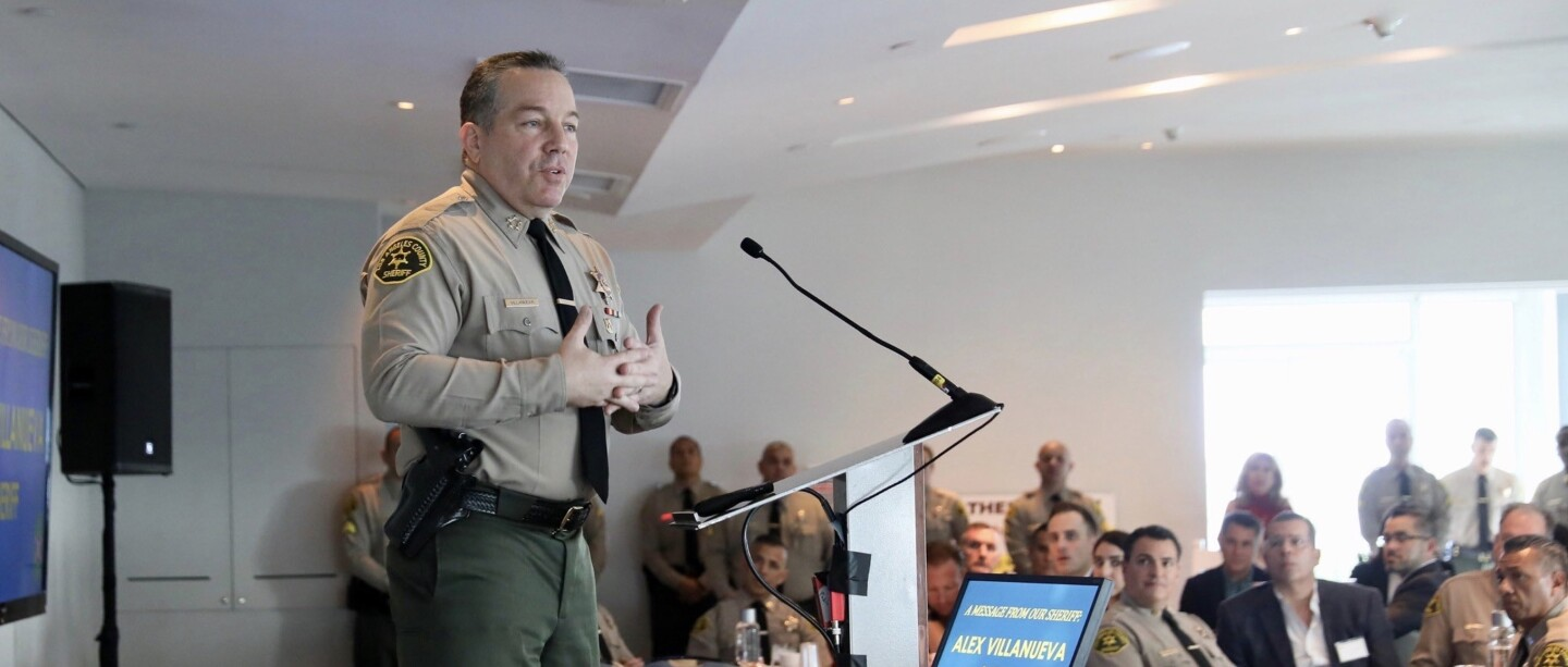 Sheriff Alex Villanueva speaking to city managers of contract cities. Cropped