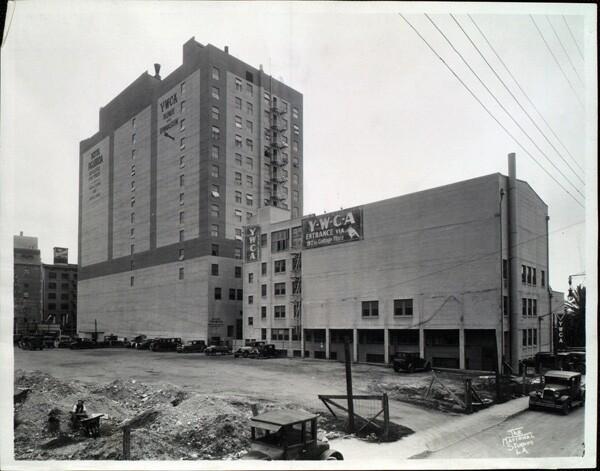 Rear exterior of Hotel Figueroa, ca. 1940   USC Digital Library