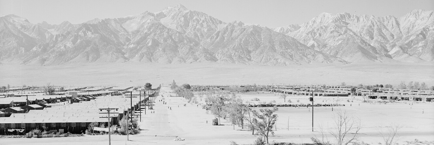 Manzanar viewed from the guard tower | Ansel Adams, War Relocation Authority Photographs of Japanese-American Evacuation and Resettlement via Densho.org  ABs10 MMD