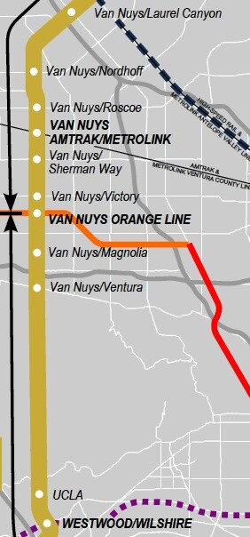 Detail view of the Transit Coalition's vision of a Valley to Westside transit corridor