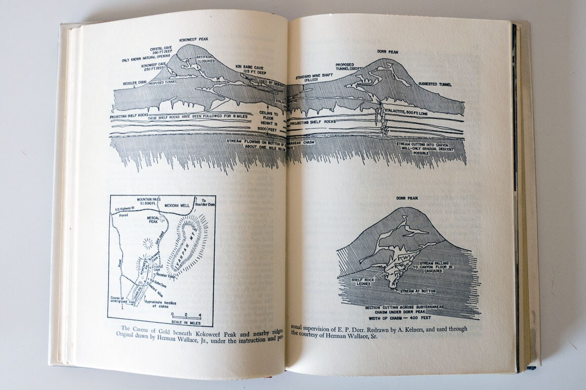 """Renderings of """"The Cavern of Gold"""" appearing in William R. Halliday's 1959 """"Adventure is Underground"""" that were drawn from original maps supervised by E.P. Dorr. 