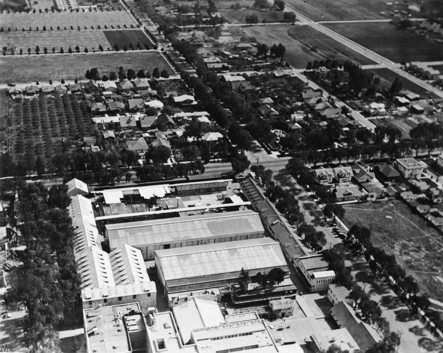 Aerial view of the Famous Players-Laskey studios, ca.1918