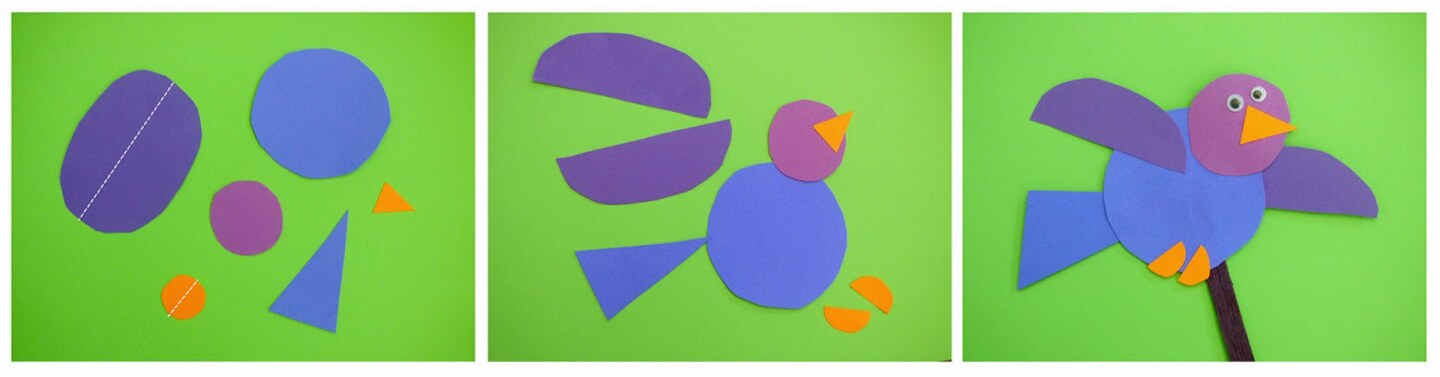 Purple and blue pieces of paper cut out to resemble a cartoon bird on a green background.
