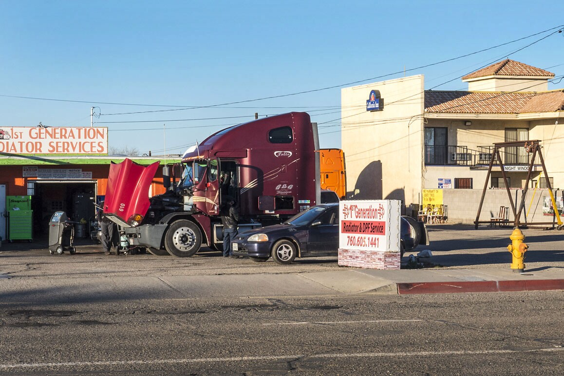 A local truck repair shop in downtown Adelanto just off U.S. Route 395. Photo: Kim Stringfellow