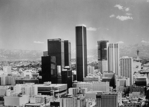 Bland 1976 downtown skyline. Photo courtesy of the Los Angeles Public Library.
