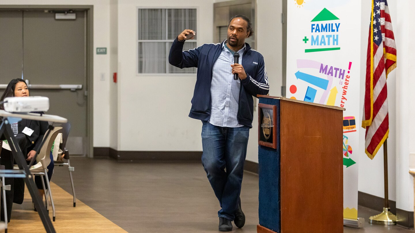 Omo Moses speaks at the PBS SoCal Family Math Convening. | Mae Koo