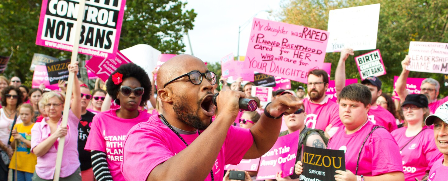 Student Jonathan Butler at a Planned Parenthood rally at the University of Missouri, 2015