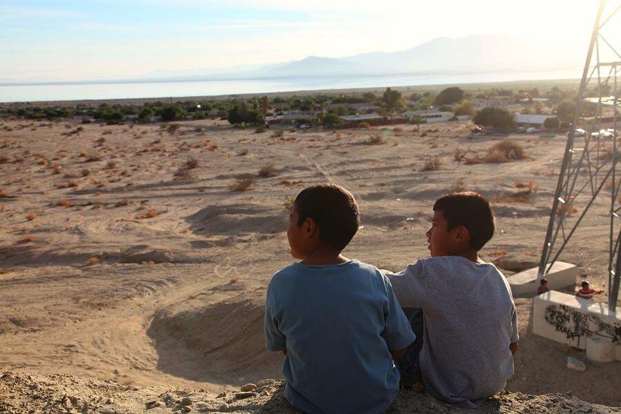 Local kids look at the Salton Sea   Photo: Drew Tewksbury