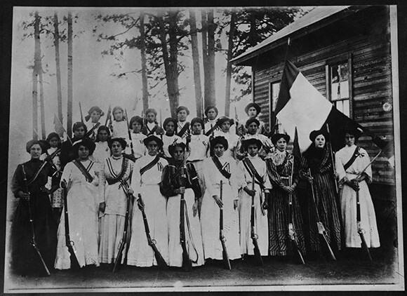 A battalion of soldaderas from collections of photographs pertaining to The Mexican Revolution, housed in Special Collections and University Archives at Tomás Rivera Library at the University of California, Riverside, Collection 236.