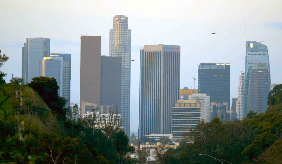 """Los Angeles skyline with a green valley in the foreground. 